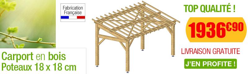 Carport bois avec couverture for Abri de jardin en bois traite autoclave pas cher