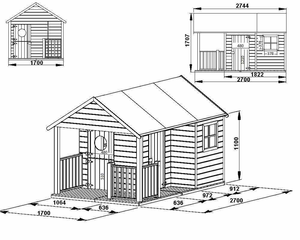 Maisonnette cabane bois in s avec toit et terrasse - Plan pour maisonnette en bois ...