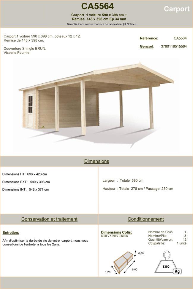 carport 1 voiture avec remise en bois couverture shingle oogarden france. Black Bedroom Furniture Sets. Home Design Ideas