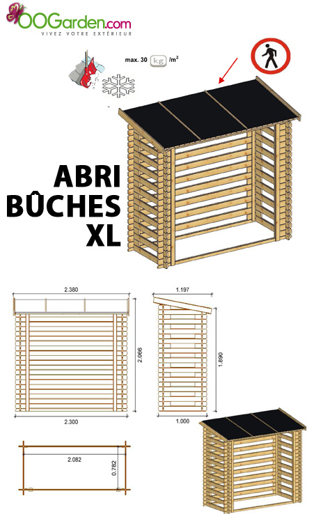 abri buches 5 st res bucher en pin madriers 19 mm. Black Bedroom Furniture Sets. Home Design Ideas