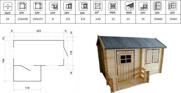 Maisonnette bois Camille avec table de piquenique bois WAPITI
