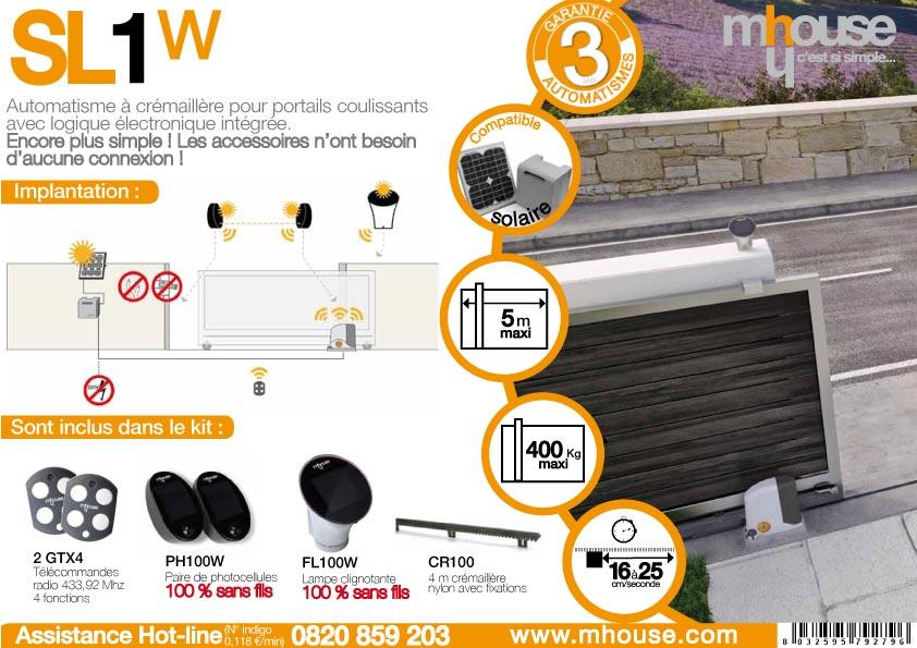 kit motorisation de portail coulissant sans fil sl1w mhouse oogarden france. Black Bedroom Furniture Sets. Home Design Ideas