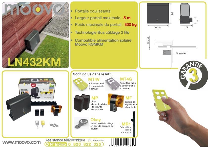 kit pour motorisation de portail coulissant moovo ln432km oogarden france. Black Bedroom Furniture Sets. Home Design Ideas