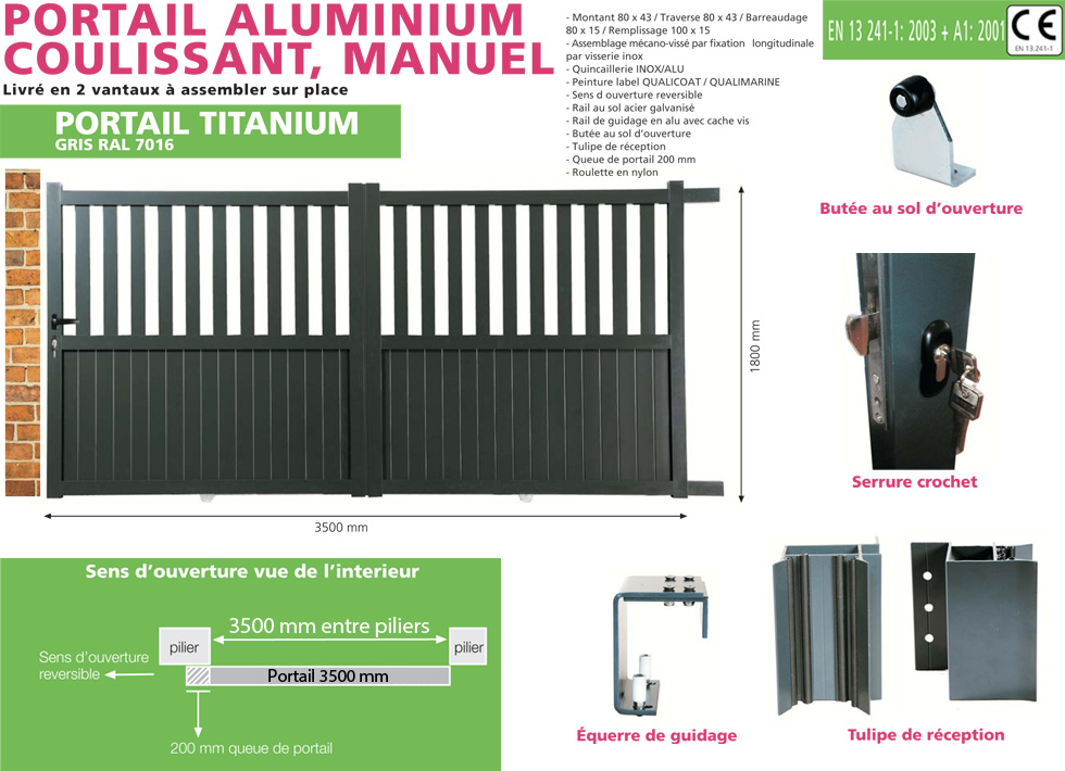 portail en aluminium coulissant titanium 3 5 m tres gris oogarden belgique. Black Bedroom Furniture Sets. Home Design Ideas