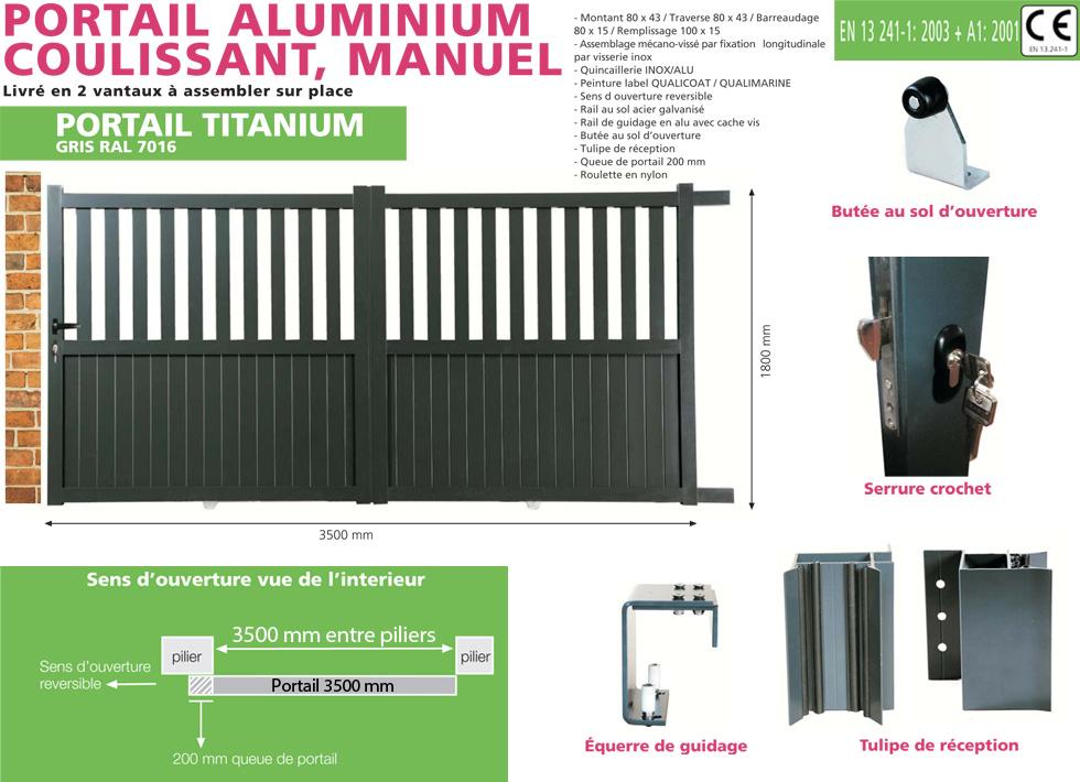 portail en aluminium coulissant titanium 3 5 m tres gris. Black Bedroom Furniture Sets. Home Design Ideas