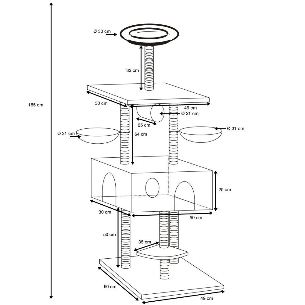 arbre chat cindy 185 cm gris anthracite oogarden belgique. Black Bedroom Furniture Sets. Home Design Ideas