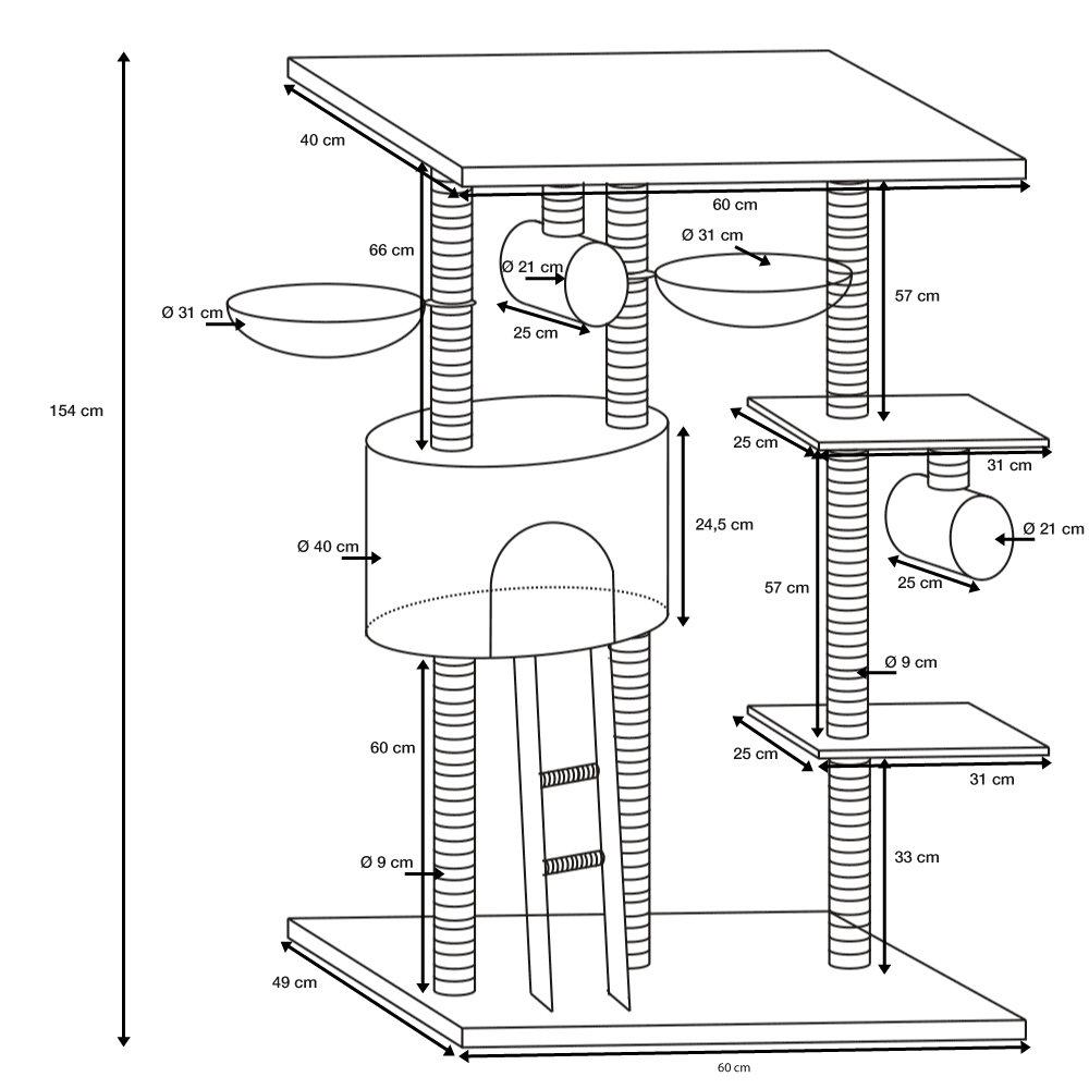 arbre chat katelyn gris 154 cm oogarden france. Black Bedroom Furniture Sets. Home Design Ideas