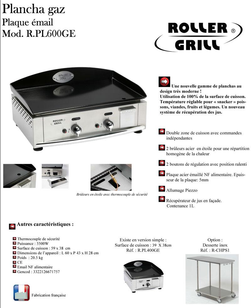 Roller grill 600 plancha gaz malette offerte oogarden france - Plancha roller grill pl 600 gaz ...