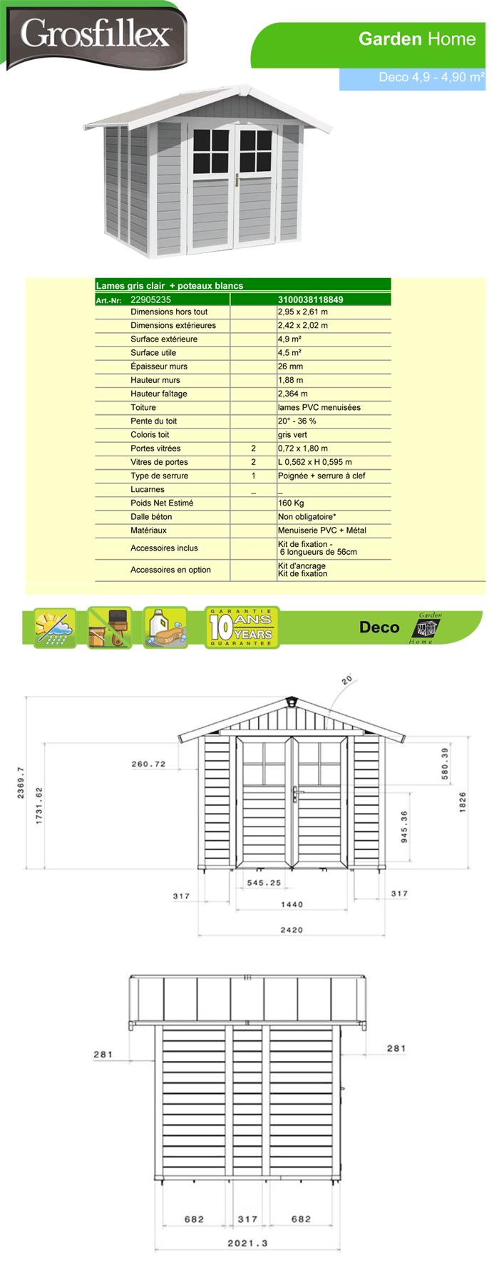 abri de jardin pvc lodge 4 9 gris clair en pvc grosfillex oogarden france. Black Bedroom Furniture Sets. Home Design Ideas
