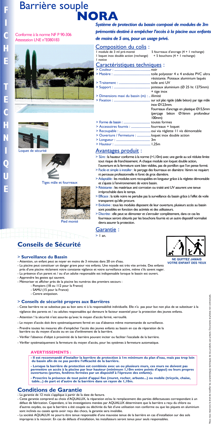 Barri re s curit protection piscine cl ture piscine for Barriere piscine aqualux