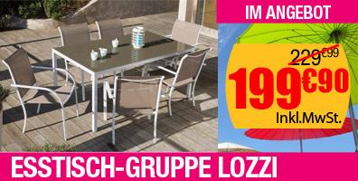 Esstisch-Gruppe LOZZI mit 6 Sesseln wei�/taupe