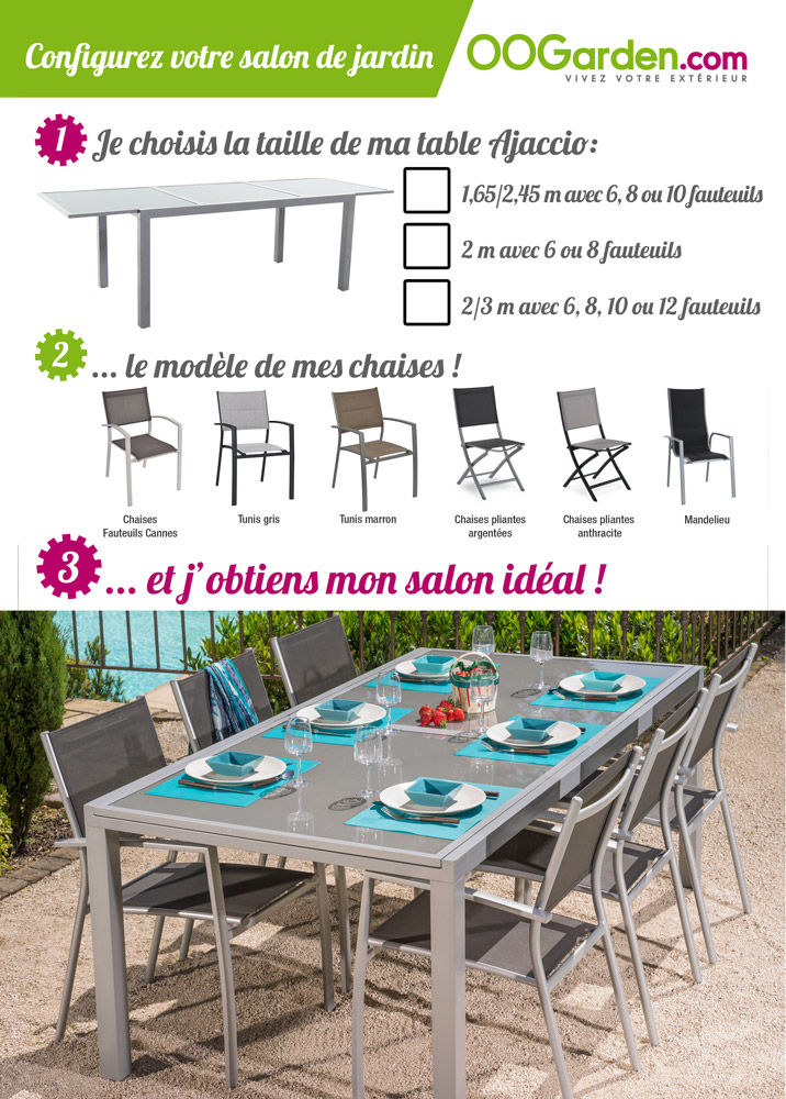 salon de jardin table ajaccio 165 245cm 6 chaises. Black Bedroom Furniture Sets. Home Design Ideas