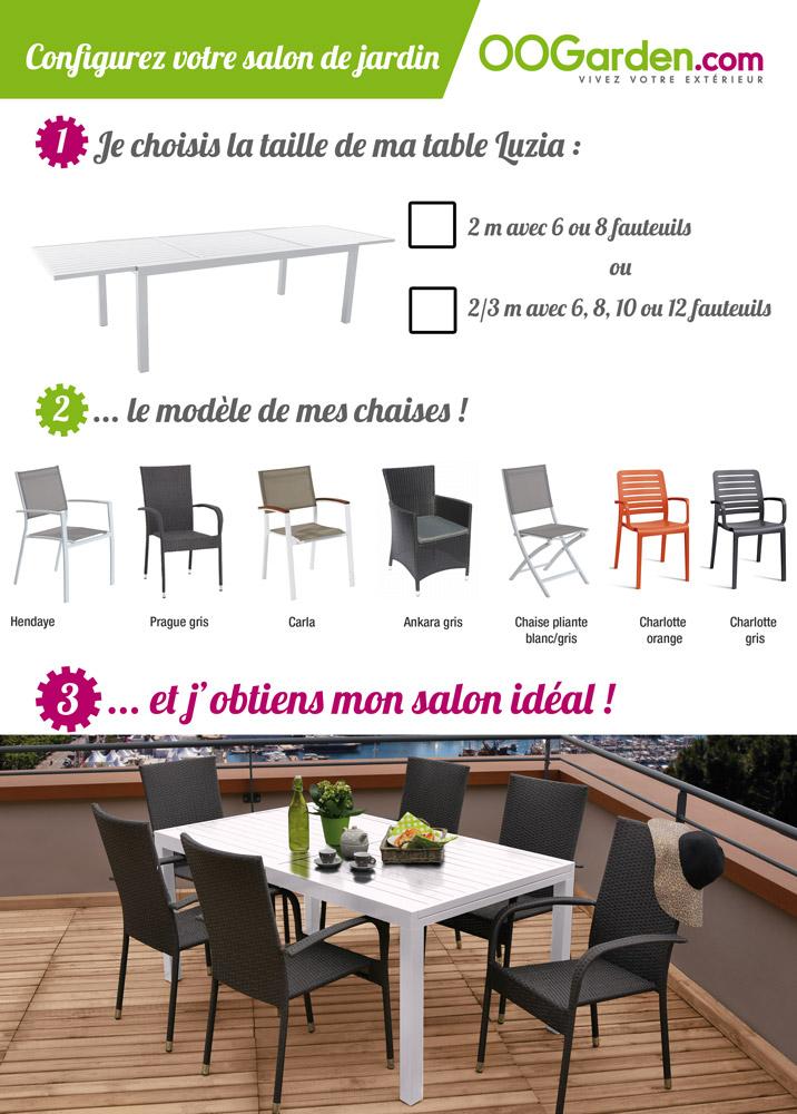 salon de jardin table luzia 2 3m 6 fauteuils hendaye oogarden belgique. Black Bedroom Furniture Sets. Home Design Ideas
