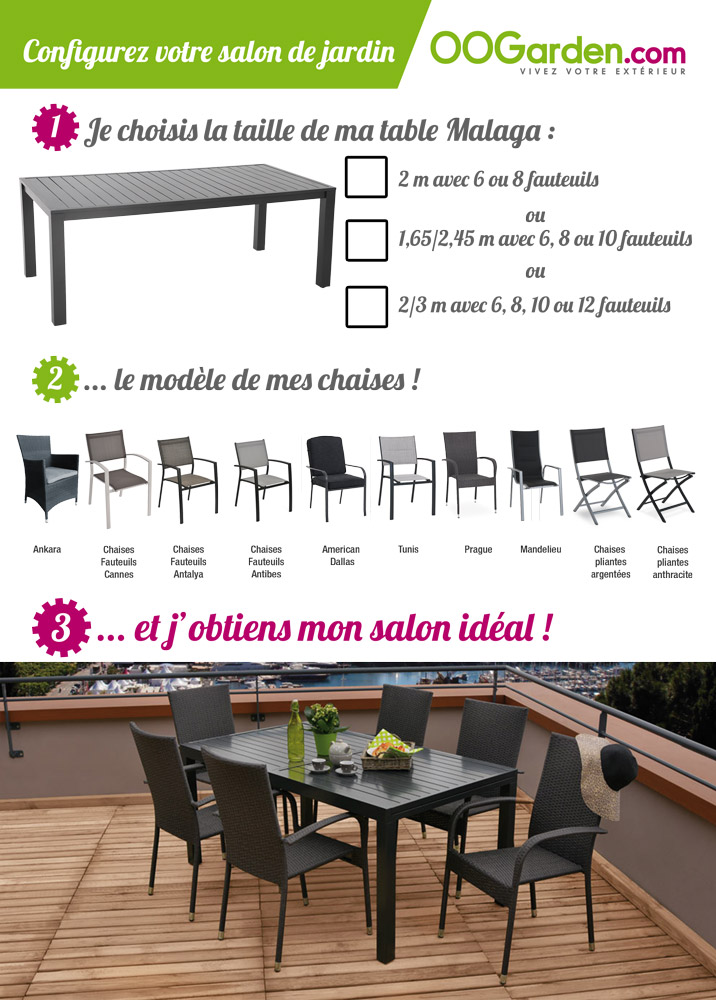 salon de jardin table malaga 2m 6 fauteuils antibes oogarden france. Black Bedroom Furniture Sets. Home Design Ideas