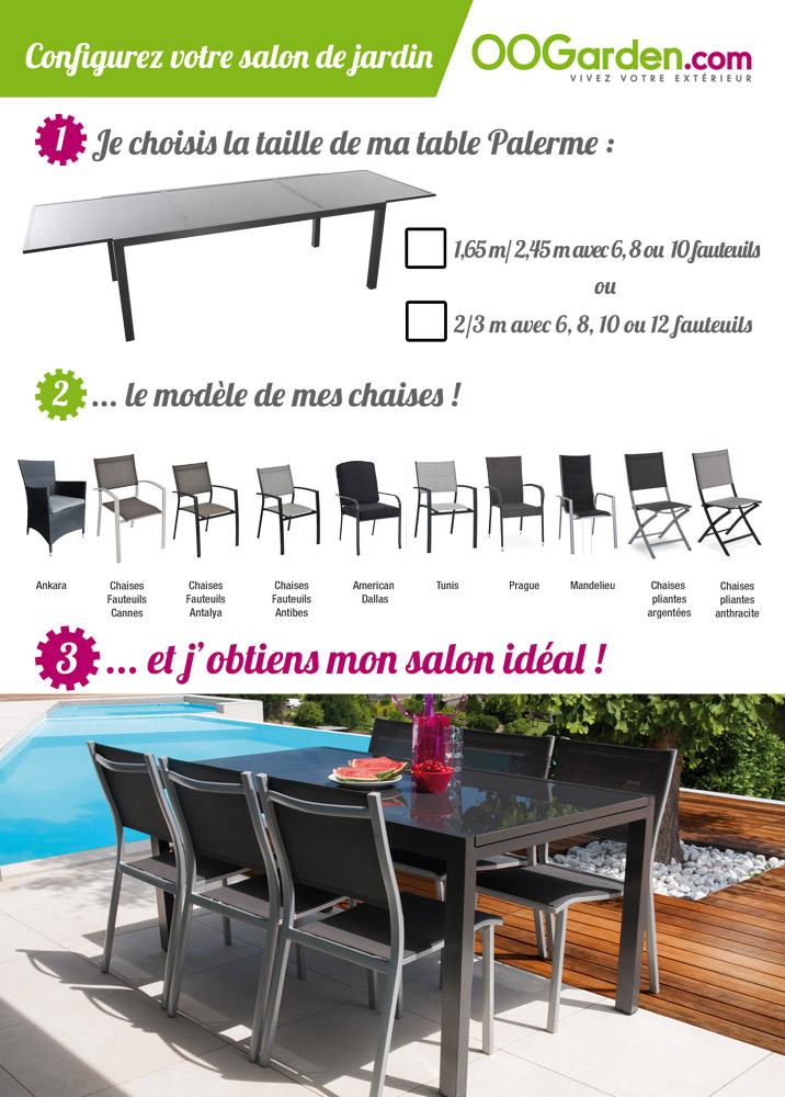 salon de jardin table palerme 165 245m 6 chaises antibes oogarden france. Black Bedroom Furniture Sets. Home Design Ideas