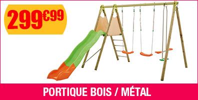 Portique bois/métal - H:2.3m - 3 agrès