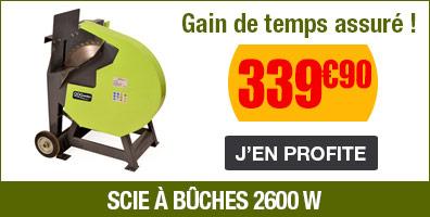 Scie à bûches électrique 2600W - lame 50cm