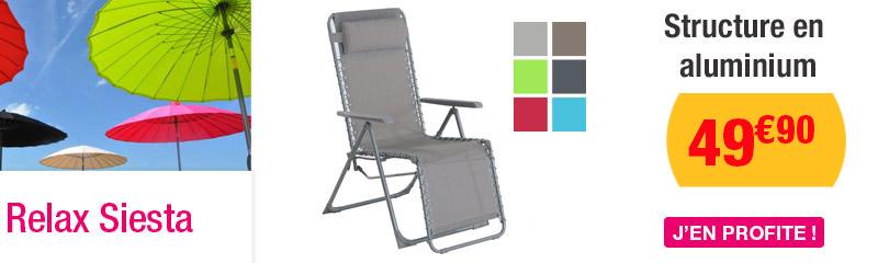 transats et relax balcon fauteuil relax siesta gris galet - Transat Balcon
