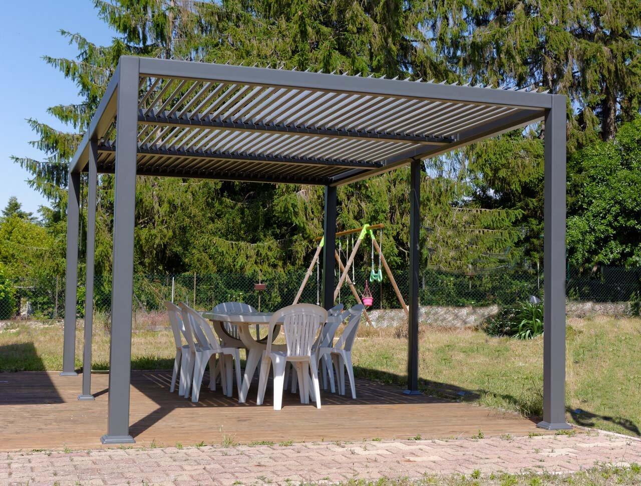 Lamellendach Aluminium freistehend ALBI grau 20 x 20,20 m